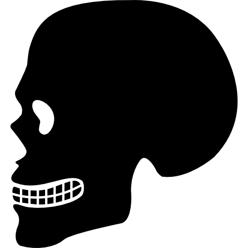 Human Skull Side View Silhouette Icons Free Download