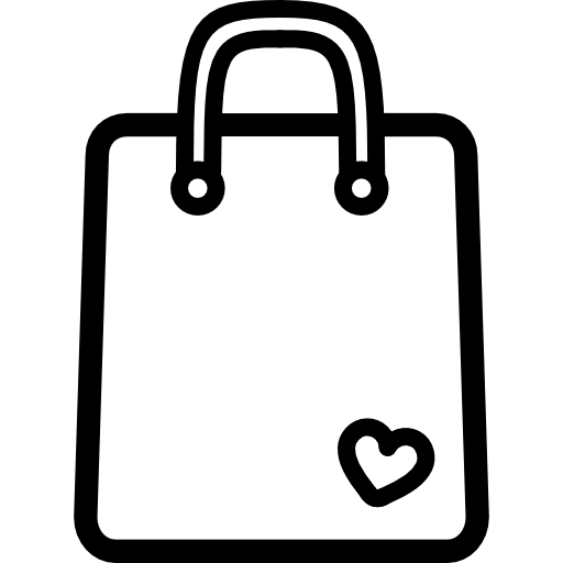 Shopping Bag Outline Tool With A Small Heart Icons Free Download