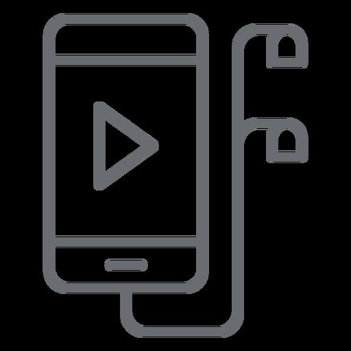 Smartphone With Earphones Stroke Icon