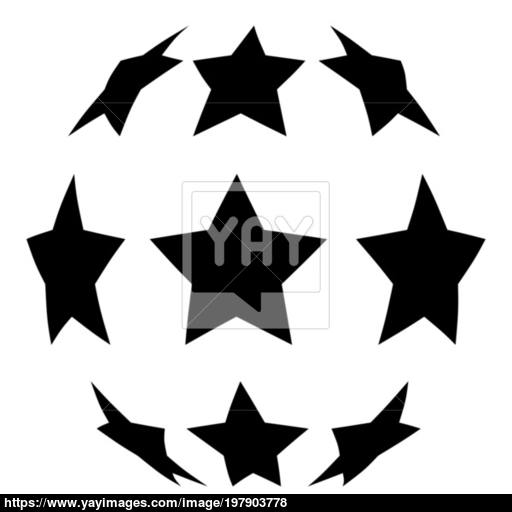 Stars In Shape Of Soccer Ball Icon Black Color Illustration Flat