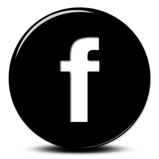 Glossy Black Button Icon Social Media Logos Facebook
