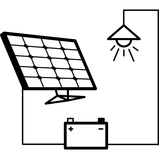 Light Connected To Battery And Solar Panel Icons Free Download