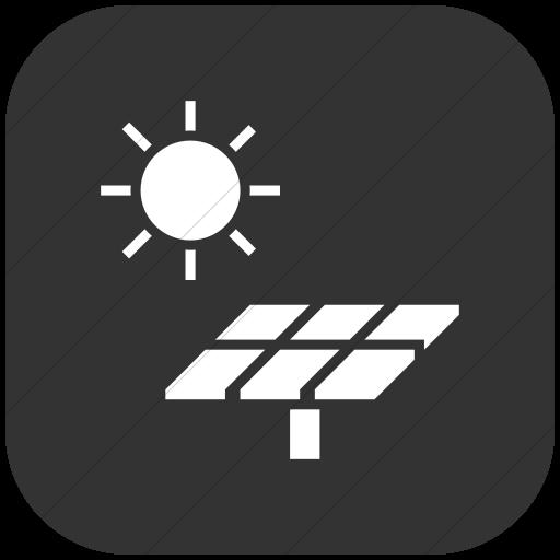 Flat Rounded Square White On Dark Gray Iconathon Solar