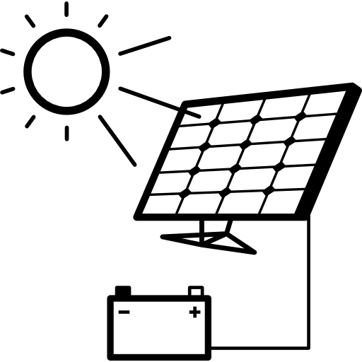 Battery Charging With Solar Panel Icons Free Download