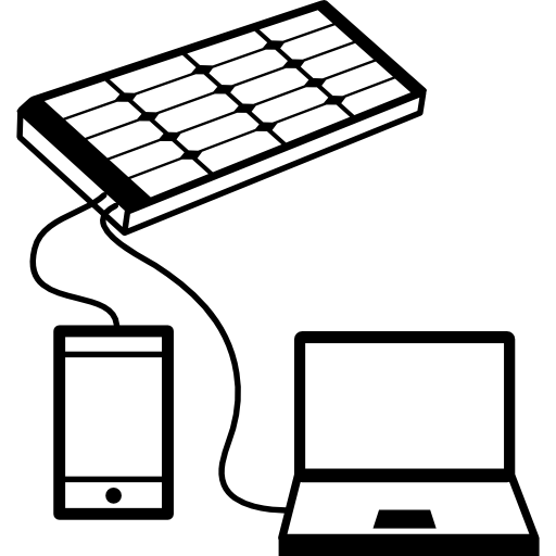 Mobile And Laptop Charging With Solar Panel Icons Free Download
