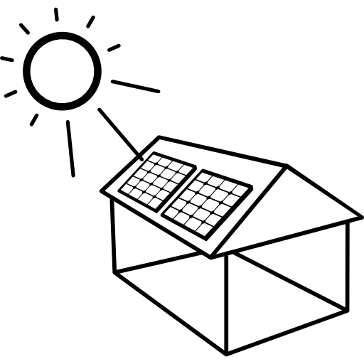 House With Solar Panel Installed Icons Free Download