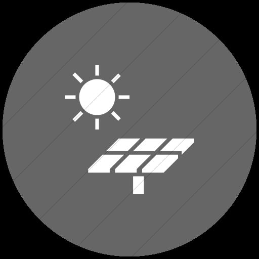 Flat Circle White On Gray Iconathon Solar Panel Icon