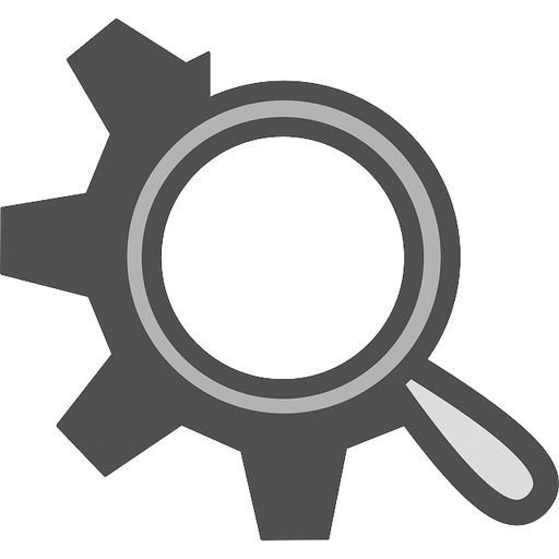 Flat Theme Gear Search Icon Edited
