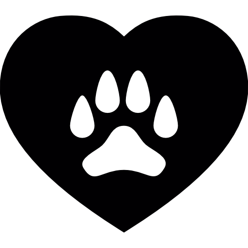 Dog Paw On A Heart Icons Free Download
