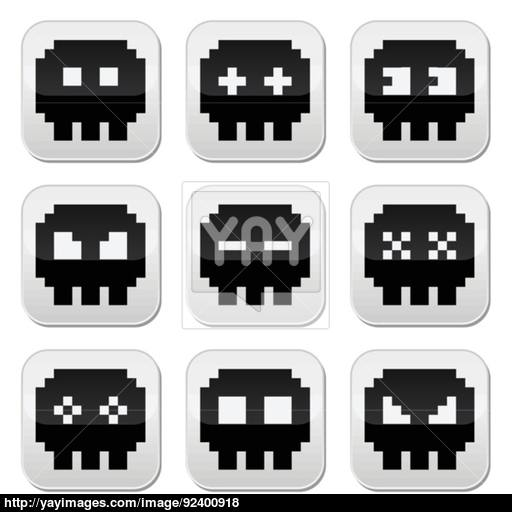 Space Invaders, Bit Aliens Round Icons Set Vector