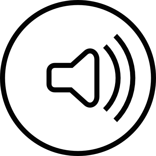 Audio Speaker With Sound Waves In A Circular Outline Icons Free