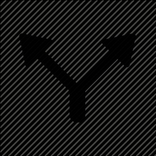 Arrow, Road, Sign, Split, Street, Two Way Icon