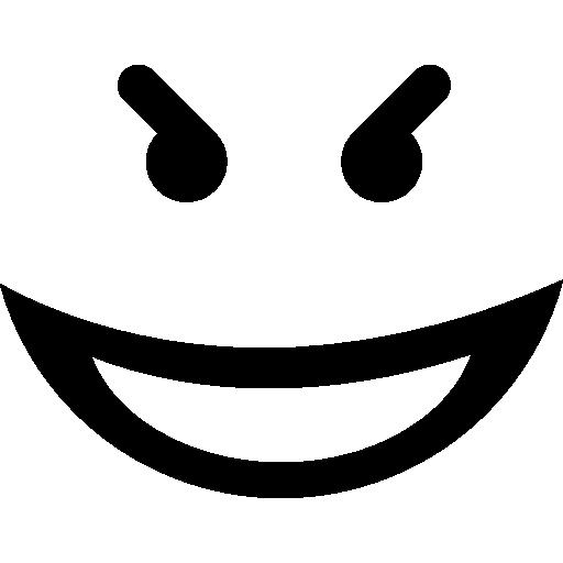 Evil Smile Square Emoticon Face
