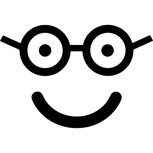 Nerd Happy Smiling Face In Rounded Square Face Icons Free Download