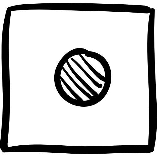Rec With Sketched Button Square Icon Social Media Hand Drawn