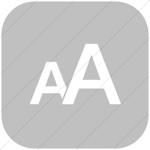 Flat Rounded Square White On Silver Classica Text Size Icon