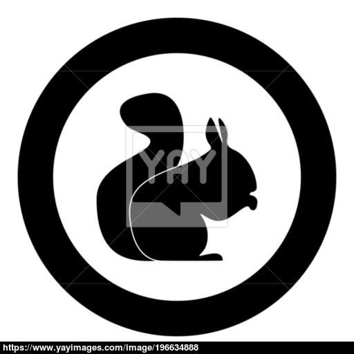 Squirrel Black Icon In Circle Vector Illustration Vector