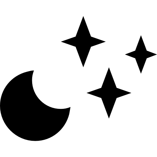 Clear, Night, Weather, Symbol, Of, Crescent, Moon, With, Stars