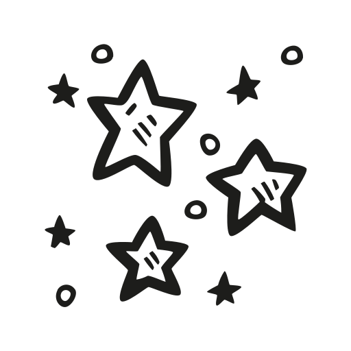 Stars Icon Free Of Space Hand Drawn Black Sticker