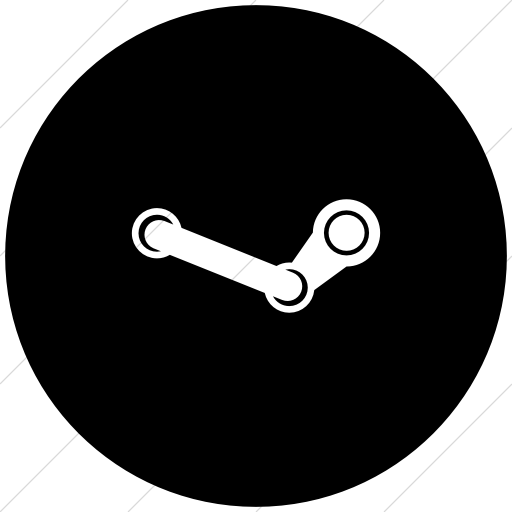 Flat Circle White On Black Foundation Social Steam Icon