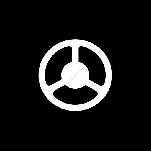 Flat Circle White On Black Classica Steering Wheel Icon