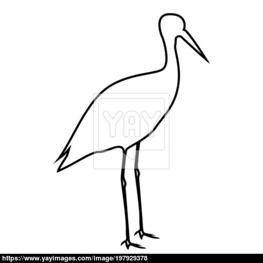 Stork Ciconia Icon Black Color Illustration Flat Style Simple