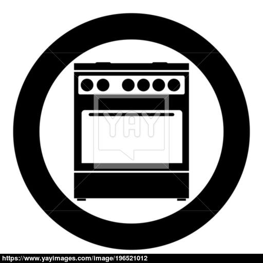 Kitchen Stove Icon Black Color In Circle Vector