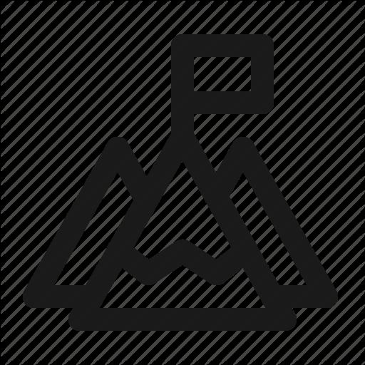 Flag, Mountain, Success Icon