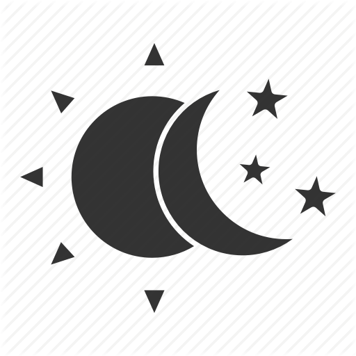 Bedtime, Crescent, Moon, Night, Sleep, Stars, Sun Icon