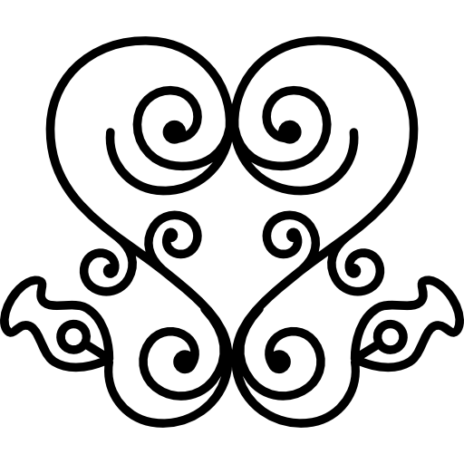 Heart Of Swirls In Floral Ornamental Design Icons Free Download