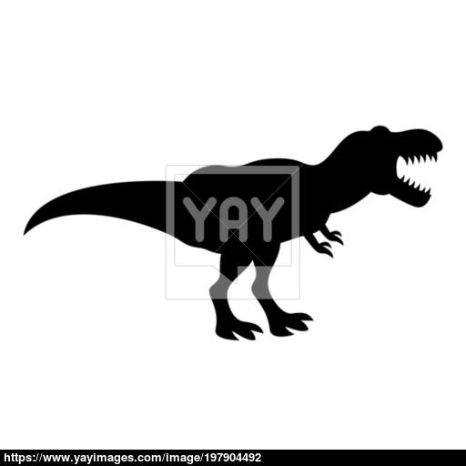Dinosaur Tyrannosaurus T Rex Icon Black Color Illustration Flat