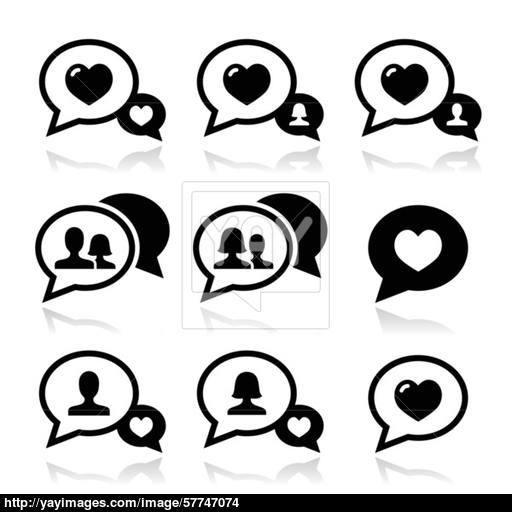 Love Speech Bubbles, Couples Vector Icons Set Vector