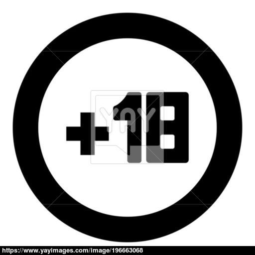 Plus Eighteen Black Icon In Circle Vector
