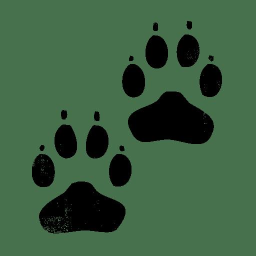 Black Ink Grunge Stamp Texture Icon Animals Paw