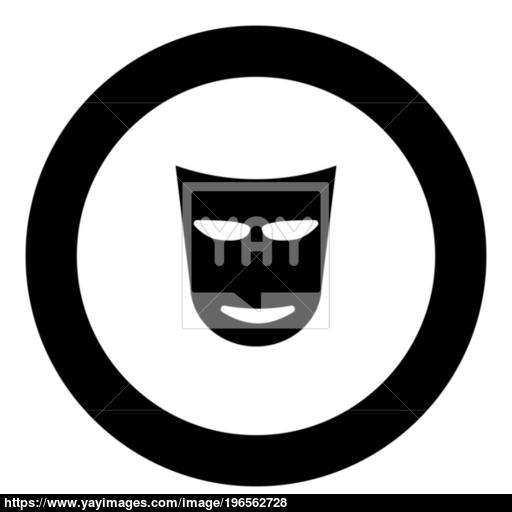 Theater Mask Icon Black Color In Circle Vector