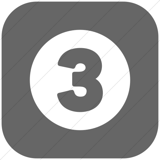 Flat Rounded Square White On Gray Encircled Solid Three