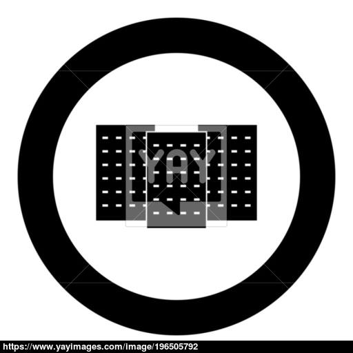 Three Building The Black Color Icon In Circle Or Round Vector