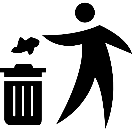 Person Throwing Paper To A Trash Can Icons Free Download