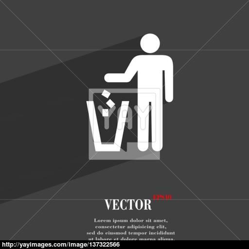 Throw Away The Trash Icon Symbol Flat Modern Web Design With Long