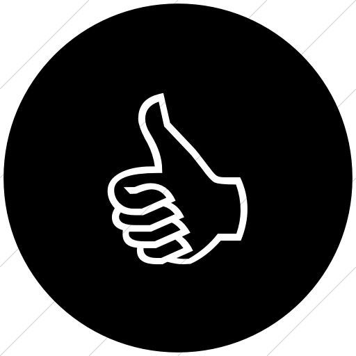 Flat Circle White On Black Classica Thumbs Up Hand