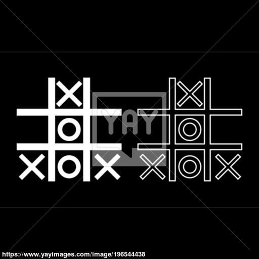 Tic Tac Toe Game Icon Set White Color Illustration Flat Style