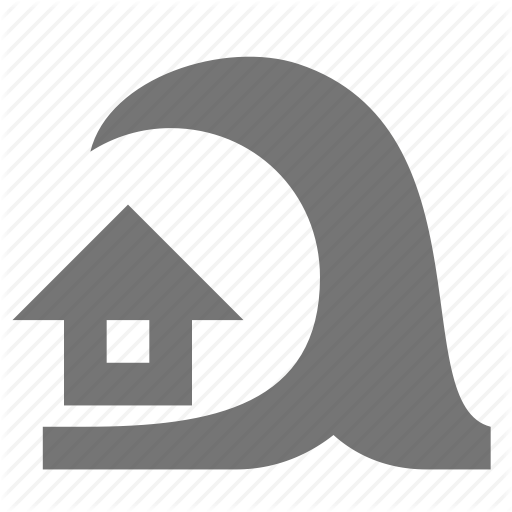 Home, House, Tidal Wave, Tsunami, Wave Icon