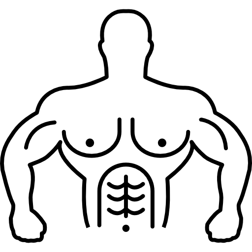 Muscular Gymnast Torso Outline Icons Free Download