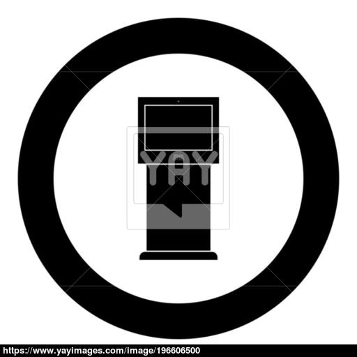 Terminal Stand With Touch Screen Black Icon In Circle Vector