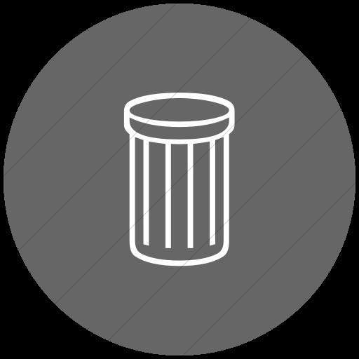 Flat Circle White On Gray Classica Thin Striped Trash