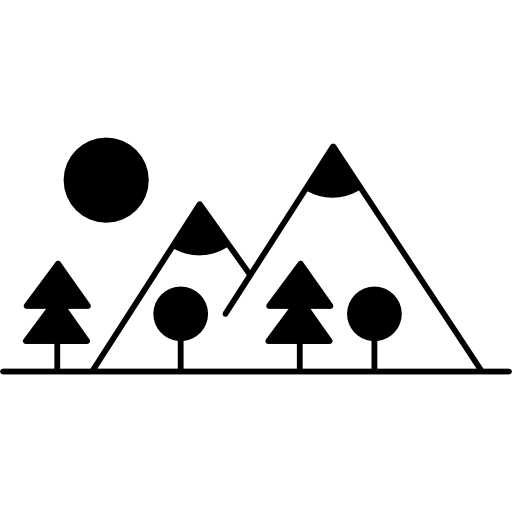Mountain Side With Trees Made Up Different Shapes