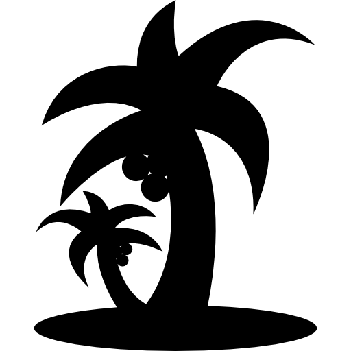 Tropical Beach Palms Trees Silhouette Icons Free Download
