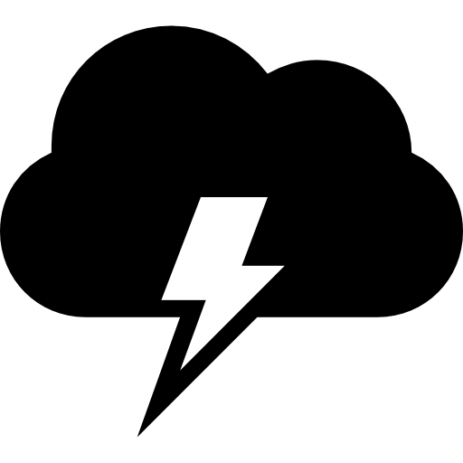 Cloud With Electrical Lightning Bolt Weather Storm Symbol Icons