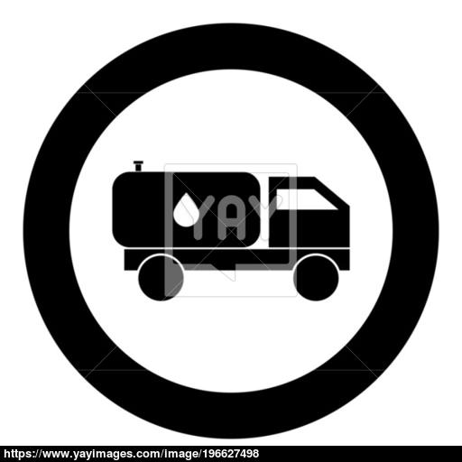 Cistern Truck Icon Black Color In Circle Vector