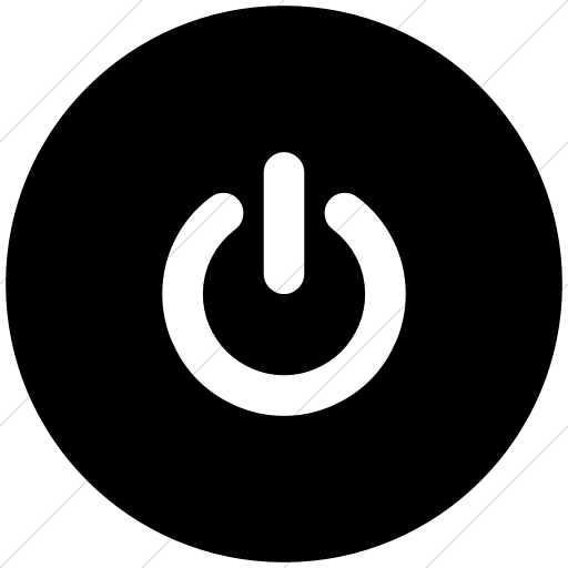 Flat Circle White On Black Bootstrap Font Awesome Power